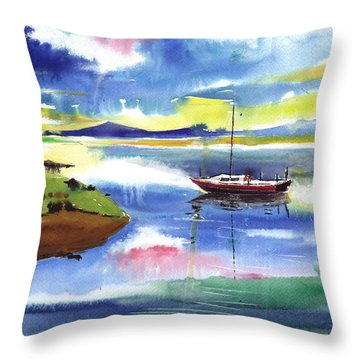 Boat N Colors Throw Pillow by Anil Nene