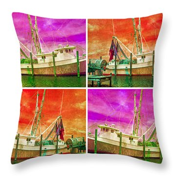 Boat Of A Different Color Throw Pillow by Betsy Knapp