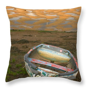 Boat Of Many Colours Throw Pillow