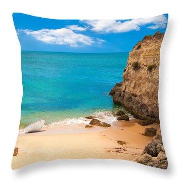 Boat On Beach Algarve Portugal Throw Pillow by Amanda Elwell