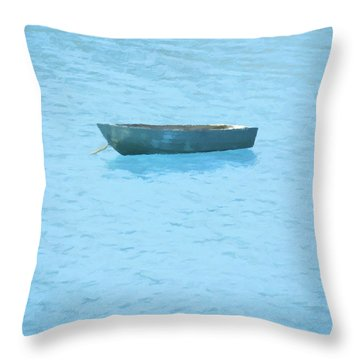 Boat On Blue Lake Throw Pillow by Pixel Chimp