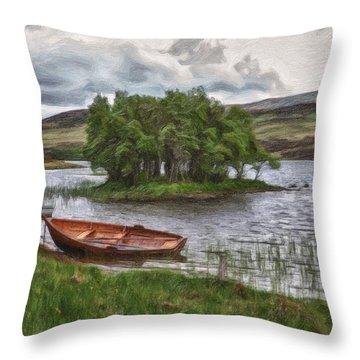 Boat On Lake Bank 1929 Throw Pillow