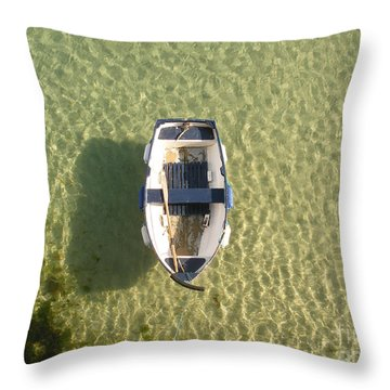 Boat On Ocean Throw Pillow by Pixel Chimp