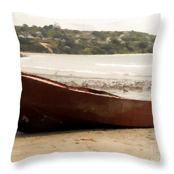 Boat On Shore 02 Throw Pillow by Pixel Chimp