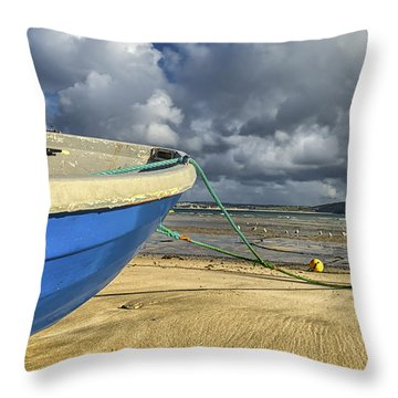 Blue Boat At St Ives Throw Pillow