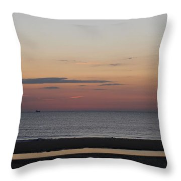 Boat On The Horizon At Sunrise Throw Pillow by Robert Banach