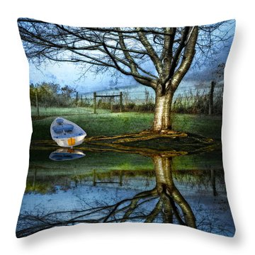 Boat On The Lake Throw Pillow by Debra and Dave Vanderlaan