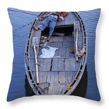 Boat On The River Ganges At Varanasi Throw Pillow by Robert Preston