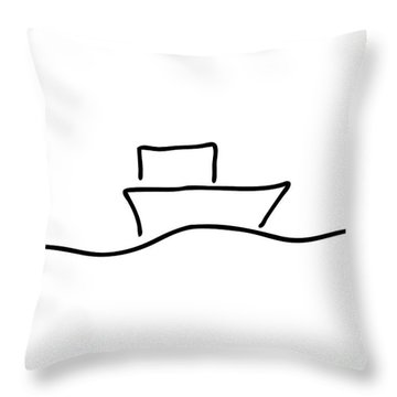 Boat Or Ship On Trip On The Sea Throw Pillow by Lineamentum