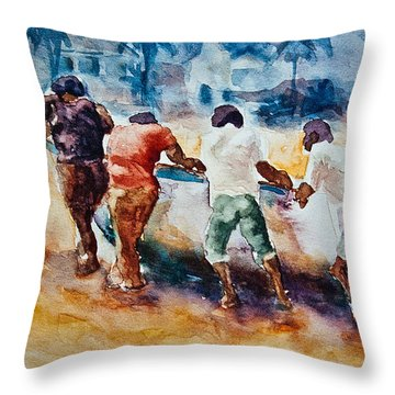 Throw Pillow featuring the painting Men At Work by Jani Freimann