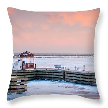 Boat Pier Lake Michigan Throw Pillow