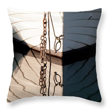 Boat Reflection Throw Pillow