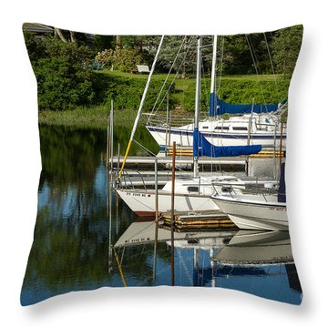 Throw Pillow featuring the photograph Boat Reflections In Cape Cod Hen Cove by Eleanor Abramson