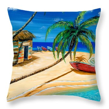 Throw Pillow featuring the painting Boat Rent by Steve Ozment
