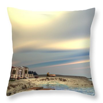 Boat Repair Throw Pillow by John Pangia