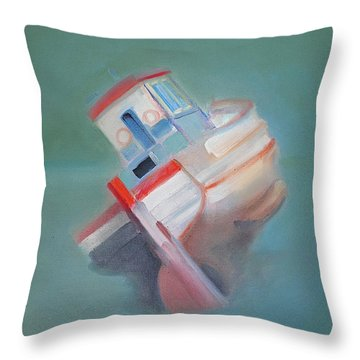 Throw Pillow featuring the painting Boat Retired  Tavira by Charles Stuart