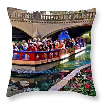 Boat Ride At The Riverwalk Throw Pillow