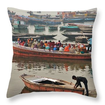 The Journey - Varanasi India Throw Pillow