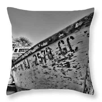 Boat - State Of Decay In Black And White Throw Pillow by Paul Ward