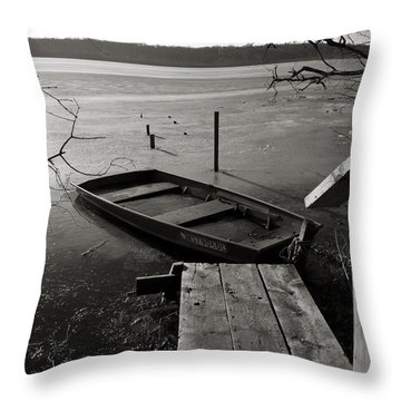 Boat In Ice - Lake Wingra - Madison - Wi Throw Pillow