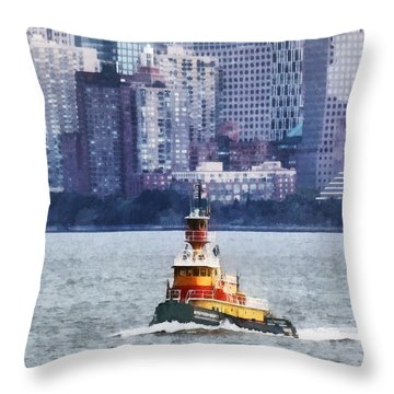 Boat - Tugboat By Manhattan Skyline Throw Pillow