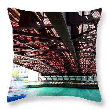 Boat Under Steel Bridge Throw Pillow