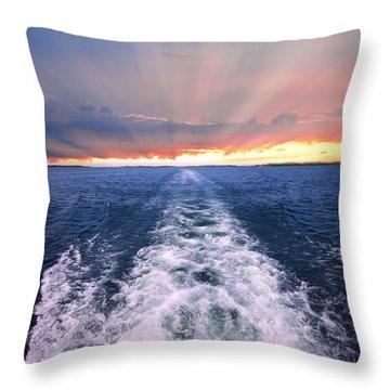 Boat Wake On Georgian Bay  Throw Pillow by Elena Elisseeva