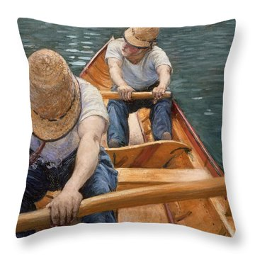 Boaters Rowing On The Yerres Throw Pillow by Gustave Caillebotte