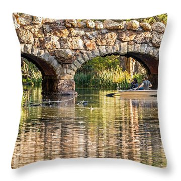 Boaters Under The Bridge Throw Pillow