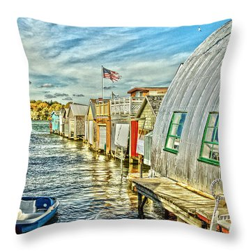 Boathouse Alley Throw Pillow by William Norton