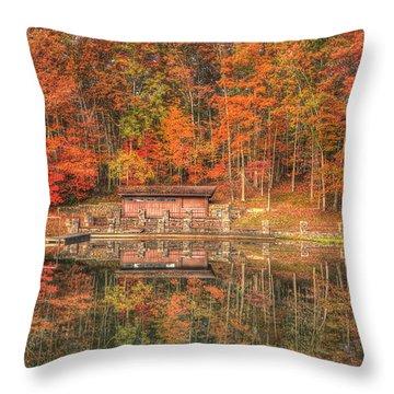 Boathouse At Boley Lake Throw Pillow