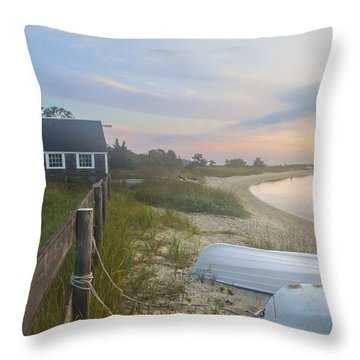 Boathouse At Dawn Throw Pillow
