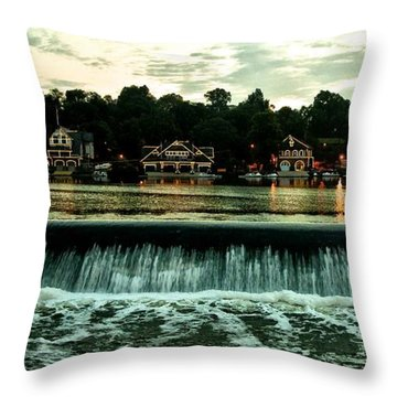 Boathouse Row And Fairmount Dam Throw Pillow by Bill Cannon