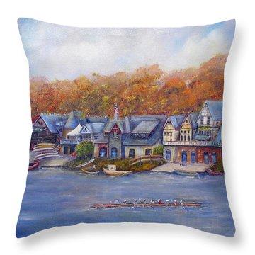 Boathouse Row In Philadelphia Throw Pillow