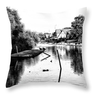 Boathouse Row Lagoon In Black And White Throw Pillow by Bill Cannon