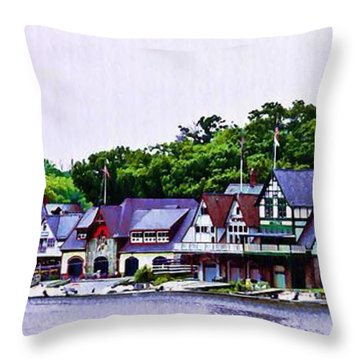 Boathouse Row Panarama Throw Pillow