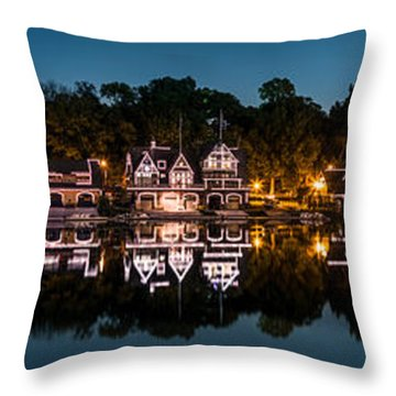 Throw Pillow featuring the photograph Boathouse Row Panorama by Mihai Andritoiu