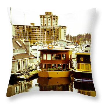 Throw Pillow featuring the photograph Boathouses by Eti Reid