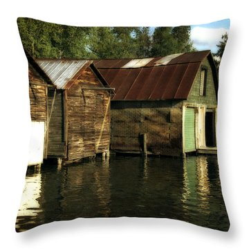Boathouses On The River Throw Pillow by Michelle Calkins