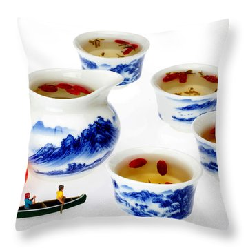 Boating Among China Tea Cups Little People On Food Throw Pillow by Paul Ge