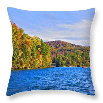 Boating In Autumn Throw Pillow