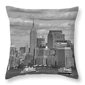 Boating In New York City Black And White Throw Pillow