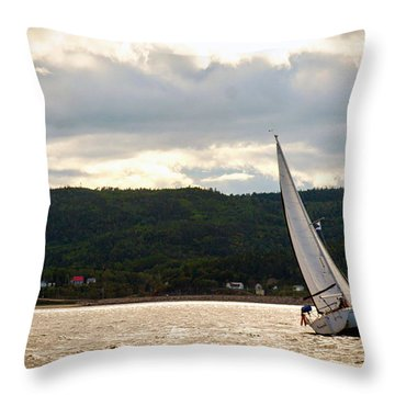 Boating In Tadoussac Throw Pillow