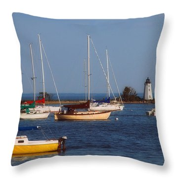 Boating On Long Island Sound Throw Pillow by Joann Vitali