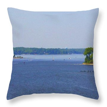 Boating On The Severn River Throw Pillow by Patti Whitten