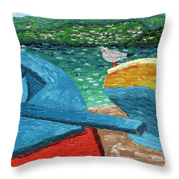 Throw Pillow featuring the painting Boats And Bird At Rest by Laura Forde