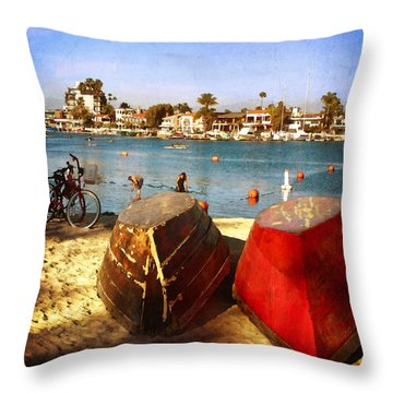 Boats At Alamitos Bay Throw Pillow by Timothy Bulone