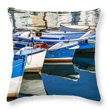 Boats At Anchor Throw Pillow
