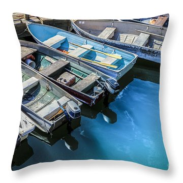 Boats At Bar Harbor Maine Throw Pillow