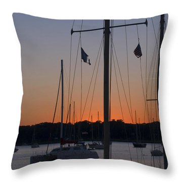 Boats At Beaufort Throw Pillow